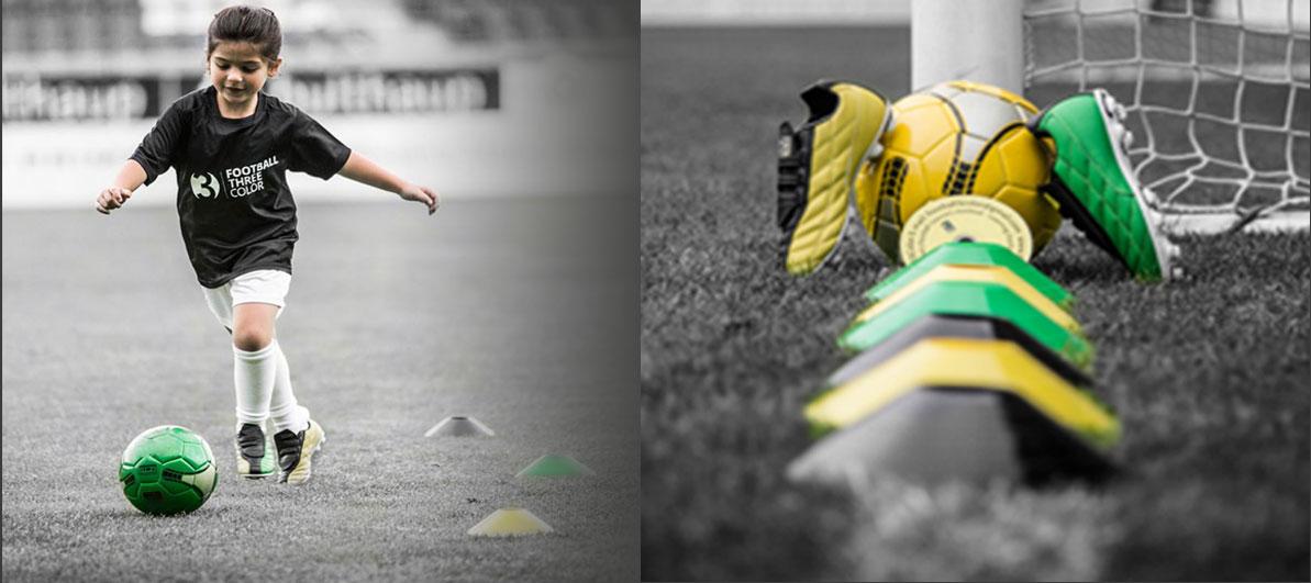 ילדה משחקת, כדור, נעל וקונוס
